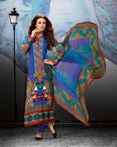 Blue Cotton Satin Straight Suit 58062