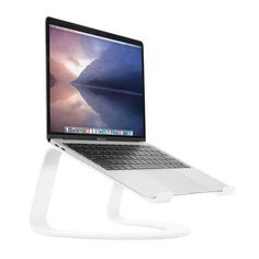 Curve for MacBook and Laptops Macbook Air Wallpaper, Desktop Wallpapers, Macbook Accessories, Macbook Laptop, Laptop Stand, Best Laptops, Modern Sculpture, Neck Pain, Raising