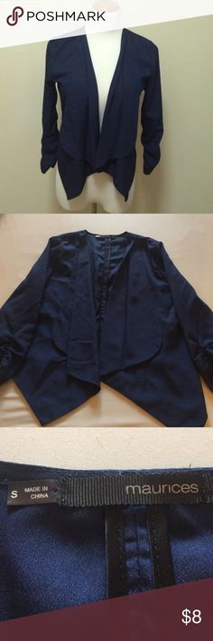 Navy Blue Blazer This is a thin, non lined blazer looking top from Maurice's. Great to wear over a tank top for the office or to keep your shoulders warm. Sleeves are a little longer than 3/4 length. Only wore once! 100% polyester light, thin blazer. Maurices Jackets & Coats Blazers