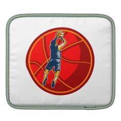 Basketball Player Jump Shot Ball Woodcut retro Sleeve For iPads. Illustration of a basketball player jump shot jumper shooting jumping set inside giant ball on isolated white background. #basketball #retro #illustration