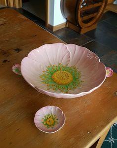 Carlton ware pink buttercup bowl & condiment dish.