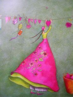 """Hearts on the Line"" Gaelle Boissonnard would be good for quilt appliqué Art Fantaisiste, Art Carte, Heart Art, Whimsical Art, Medium Art, Love Art, Pretty In Pink, Pink And Green, Illustration Art"