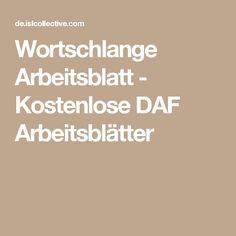 Wortschlange Arbeitsblatt - Kostenlose DAF Arbeitsblätter