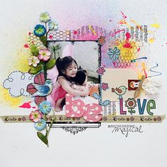 Charming layout using Prima, Mommy and Me, clear stamps from Prima, a canvas tag from talented designer, irisbabaouy.typepad