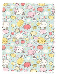 Wallpaper de ovelhinha. Muito fofo! So cute! #wallpaper #PapelDeParede #FundoDeTela #ArtPrint #arte #art #print #Desenho