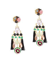 Mercedes Salazar Double Fringe Earrings: Black Multi: Double fringe tassels give these colorfully beaded chandelier earrings chic swing. 4 1/2 long. Post with clip back. For pierced ears. Comes in printed drawstring pouch. Made in ...