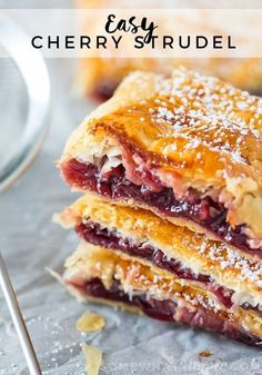 Easy Cherry Strudel Recipe – Flaky and Sweet! This Cherry Strudel is so tasty nobody will believe it is so ridiculously easy to make! Just a few ingredients stand between you and this flaky, sweet pastry! Cherry Strudel Recipes, Cherry Recipes, Köstliche Desserts, Delicious Desserts, Yummy Food, Cherry Desserts, Summer Dessert Recipes, Breakfast Recipes, Kitchens