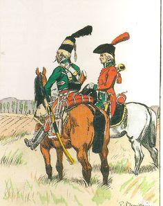 French; Hussards d'Augereau or Guides de l'Arme d'Alemagne, Guide & Trumpeter, Tenue de Campagne, 1797