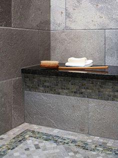 Bathroom Shower Tile Ideas, graniet op muurtjie in stort