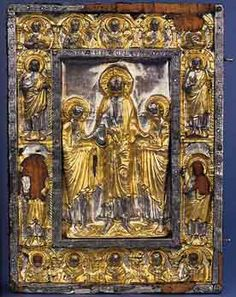 Gospel Book: Traditio legis et clavumNorthern Italy, first quarter of the 12th centuryPartially gilded silverand niellé on block of wood,parment.