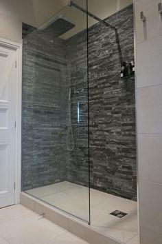 walk in shower with slate block tiles and raised wet room floor – Abby's decor diary Wet Room Bathroom, Slate Bathroom, Wet Room Shower, Simple Bathroom, Modern Bathroom, Bathroom Showers, Downstairs Bathroom, Washroom, Bathroom Faucets