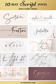 10 of the BEST Script Fonts from Creative Market Check out my list with 10 of the BEST Script Fonts from Creative Market for branding your projects in It is never too late to add charm to your b Tattoo Fonts Cursive, Handwriting Fonts, Typography Fonts, Hand Lettering, Fonts For Tattoos, Free Cursive Fonts, Cursive Calligraphy, Cursive Tattoo Fonts, Cursive Fonts Alphabet