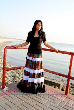 Gypsy skirt and solid shirt with jewelry in the same colors