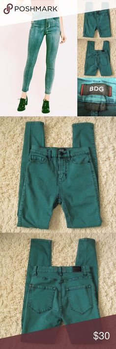 "BDG High Rise Twig Ankle Skinny Jeans BDG Urban Outfitters Vintage Green High Rise Twig Ankle Jeans. Size W25 L29. Worn 2-3 times. Great condition! Features: high rise/light factory distressing on edges/stretchy Materials: 77%Cotton/21% Polyester/2% Spandex  Actual Measurements (laying flat): • Waist - 25"" around • Hips - 14"" • Rise - 10"" front/ 12"" back • Length - 37.5"" • Inseam - 28"" • Leg Opening - 4.5"" ~❌SWAP❌TRADE ~ ✔️❤️Bundles📦💕 ~✔️Smoke-free/pet-free home Urban Outfitters Jeans…"