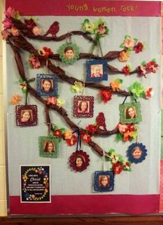 Spring Bulletin Board I made for my a Young Women's group. Family Bulletin Boards, Bulletin Board Tree, November Bulletin Boards, Spring Bulletin Boards, Preschool Bulletin Boards, Classroom Family Tree, Preschool Family, Preschool Crafts, Tree Crafts