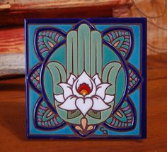 6x6 Hand Glazed Decorative Tile Coaster by CarlyQuinnDesigns on Etsy ~ I would use this on a wall as a focal point!