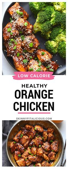 Healthy Orange Chicken is a simple, low calorie version of your favorite takeout meal. This lighter meal is made with real food and gluten free and Paleo. Healthy Low Calorie Dinner, Low Calorie Dinners, No Calorie Foods, Healthy Eating, Healthy Low Fat Meals, Healthy Chinese Recipes, Low Fat Snacks, Healthy Foods, Vegetarian Recipes