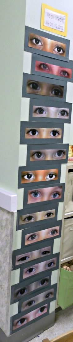 This is something I did in my classroom this year when I was talking to my preschool class about how we are all different, yet the same.    It is a wall display of the children in my preschool classroom.  The children were asked to search for their own eyes and when the parents came in later that day, I asked them to find their child's eyes too!: