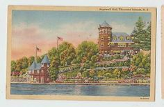 Hopewell Hall Thousand islands River Tower flags vintage postcard 4934