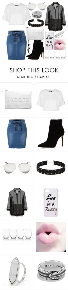 """Life is a party"" by musicmelody1 ❤ liked on Polyvore featuring Miss Selfridge, Topshop, LE3NO, ALDO, Victoria Beckham, Forever 21, DKNY, Rebecca Minkoff, Lux and David Yurman"