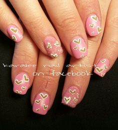 valentines day nails- nail art some hearts and fuzzy velvet ring fingers by karalee nail artist