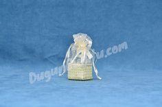 Fileli Beyaz Kalp İncili Keseli Bebek Şekeri KSB06