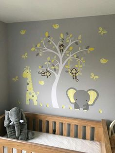 Enchanted Interiors Premium Self Adhesive Fabric Nursery Wall Art Decals  Elephant and giraffe jungle design in yellow, grey and white colour scheme