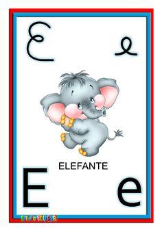Alfabeto ilustrado colorido cartazes de parede.  Alfabetização Infantil, Alfabeto, Imagens, Atividades para Imprimir, Desenhos para Imprimir, Para Imprimir, Para Imprimir e Colorir, Atividades para Professores, Professores,