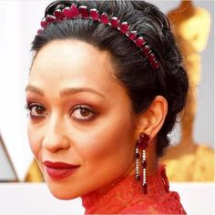 Ruth Negga in Irene Neuwirth x Gemfields ruby jewelry