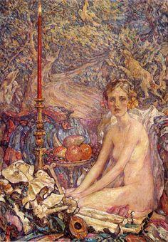 Robert Reid (American 1862–1929) {Impressionism, Muralist] Spirit of the Garden.