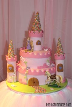 Princess Castle Cake - Supposedly, not as hard as it looks!  Full tutorial.