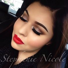 Soft Neutral smokey eye with matte red lips ❤❤❤
