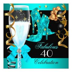 40 Fabulous Teal Blue Gold 40th Birthday Party Card 40th Birthday Celebration Ideas, 40th Birthday Quotes, 40th Birthday Themes, Blue Birthday Parties, 40th Party Ideas, 40th Birthday Invitations, Elegant Birthday Party, Fabulous Birthday, 50th Birthday Party