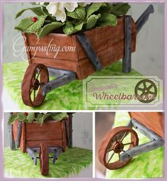 {A Rustic Gumpaste/Fondant Wheelbarrow Planter}