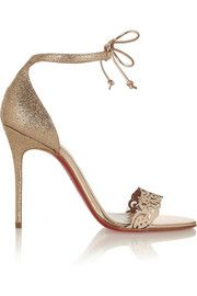 Christian LouboutinValnina 100 glitter-finished and leather sandals... cankles?