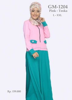 Baju Gamis Wanita Rahnem GM-1204 Pink Toska
