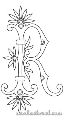 Monogram for Hand Embroidery: Fan Flower R