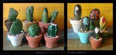 cactus e fiori di pietra - I like the simple design of this rock painter's cacti and flowers.