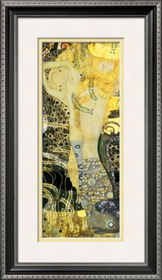 Hello Sunshine! Water Serpents I, c. 1907 by Gustav Klimt. Framed print from Art.com, $124.99. #yellow