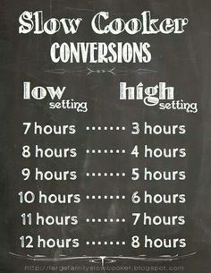 Slow-cooker/crockpot time conversions chart, via Large Family Slow Cooker Crock Pot Food, Crock Pot Slow Cooker, Slow Cooker Recipes, Crock Pots, Slower Cooker Recipes Healthy, Receitas Crockpot, Cooking Tips, Cooking Recipes, Cooking Food
