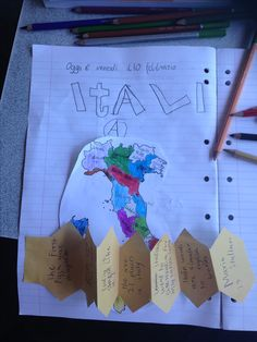 Italy map and foldable with facts.