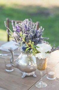Lavender in teapot wedding decor ideas