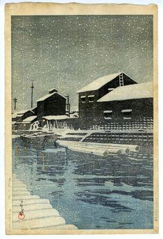 川瀬巴水(かわせはすい) - 木場の雪 - 新版画販売 - 浮世絵ぎゃらりい秋華洞