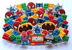 Spider-Man and Batman LEGO Cookies