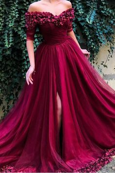 Line Off The Shoulder Burgundy Tulle Prom Dresses With Appliques Split, Evenin. A Line Off The Shoulder Burgundy Tulle Prom Dresses With Appliques Split, Evenin. A Line Off The Shoulder Burgundy Tulle Prom Dresses With Appliques Split, Evenin. Burgundy Homecoming Dresses, Prom Dresses With Sleeves, Tulle Prom Dress, Cheap Prom Dresses, Short Dresses, Formal Dresses, Burgundy Dress, Maroon Dress, Dresses Dresses