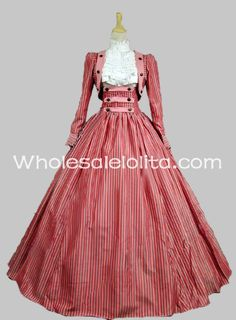 2014 New Arrival Seconds Kill Three Piece Vertical Stripes Civil War Victorian Dress Reenactment Gown Party Dress/party Costume