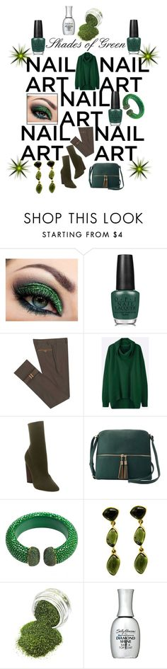 """""""Shades of Green"""" by tammydevoll ❤ liked on Polyvore featuring beauty, OPI, Diverso, Steve Madden, Deluxity, Latelita and Sally Hansen"""