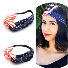 New American Flag Turban Headband 4th of July USA Headbands Headwrap Fashion Elastic Hair Bands Bandana Turban Hair Accessories