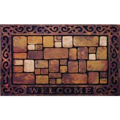 Outdoor Aberdeen Welcome Doormat ($22) ❤ liked on Polyvore featuring home, outdoors, outdoor decor, multi, woven mat, outdoor holiday doormats, outdoor doormats, welcome doormat and outdoor mats