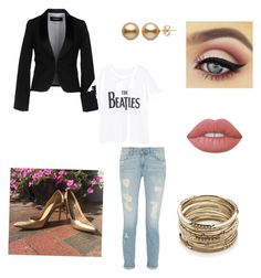 """""""Gold flare"""" by taylorglover9 on Polyvore featuring Dsquared2, Sole Society, Violeta by Mango and Lime Crime"""